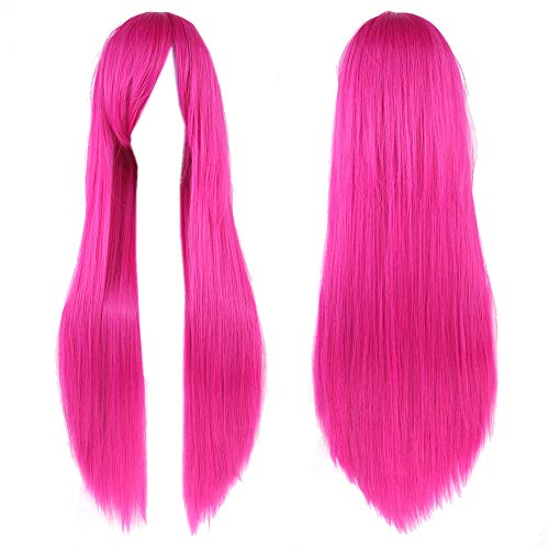Fouriding 31.5'/ 80cm Lungo Parrucche Cosplay Capelli Lisci Donna Anime di Bangs completa sexy Parrucche (Rosa)