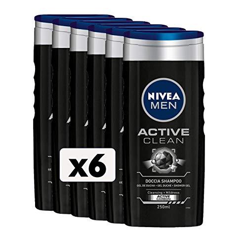 NIVEA MEN Active Clean Doccia Shampoo in confezione da 6 x 250 ml, Bagnoschiuma uomo per corpo, viso e capelli, Shampoo uomo con Carbone Attivo naturale