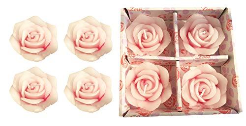 T-shin - Candele galleggianti, Classiche e Non profumate, a Forma di Petali di Rosa, per Matrimoni, anniversari, Compleanni, Decorazioni per la casa, Spa, Relax, Confezione da 4 Rosa