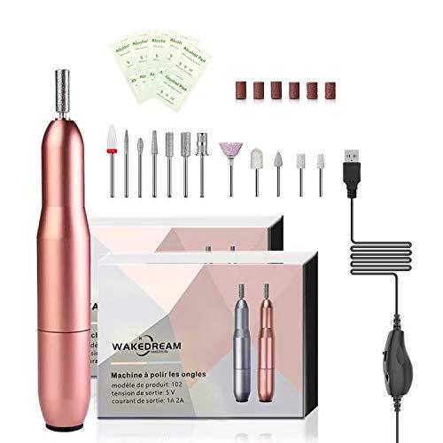 WakeDream Fresa per Unghie, Kit Professionale per Rimozione Smalti e Gel, velocità regolabile a 20000 RPM, lima per unghie elettrica professionale 12 in 1, Strumenti per manicure e pedicure (rosa)
