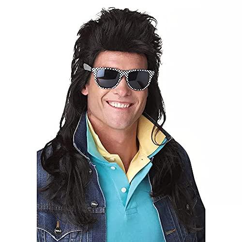 Parrucca di triglie anni '70 anni '80 Parrucca nera lunga punk rocker Parrucche sintetiche per costumi di Halloween per uomo