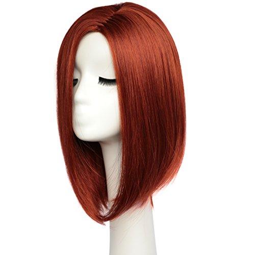 BESTUNG Parrucche per capelli corti a corta per le donne Parrucche per tutta la lunghezza di spalla Miele naturale di colore rosso con cappellino per parrucche (W100507)