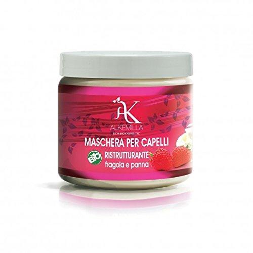 ALKEMILLA - Maschera per Capelli Ristrutturante con Fragole e Panna - con Proteine della Soia - Biologico, Vegano, Non Testato su Animali, Made in Italy