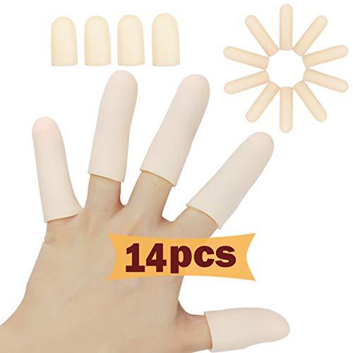 Gel Finger Cots, Finger Protector Support (14 PCS), NUOVO MATERIALE, Guanti da dito, Manicotti adatti per dita di grilletto, Eczema a mano, incrinatura di dita, artrite alle dita e altro. (Nudo)