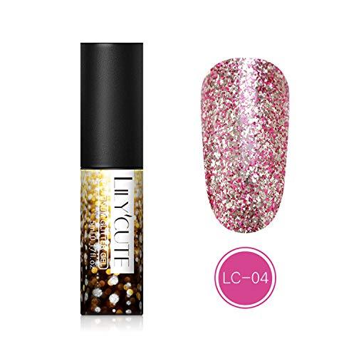Laser Silver UV Nail Polish Gel olografico Glitter 5 ml Smalto Gel Soak Off UV Led Smalto Oro LC-04