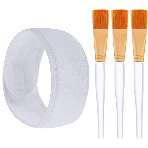 Hotop 3 Pezzi Spazzole di Maschera Morbido Makeup Applicatore Cosmetico Strumento con Spa Fascia per Capelli per Maschera Facciale Maschera per Occhi Fai Da Te Esigenze