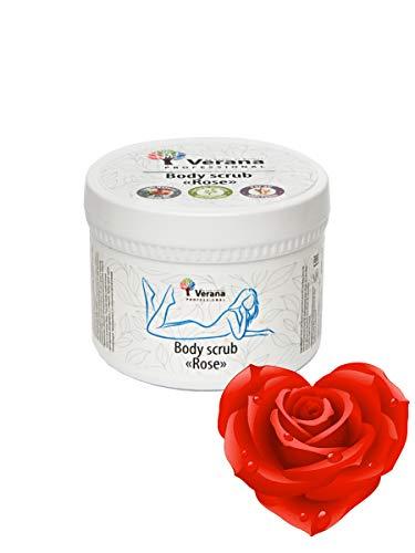 Verana Esfoliante per il Corpo Rosa, Prodotto biologico per tutti i tipi di pelle, Trattamento anticellulite e idratante, Stimola la circolazione sanguigna, Aromaterapia 300 g