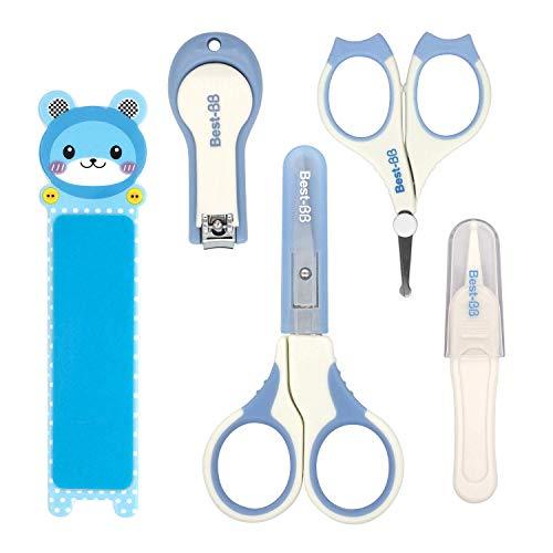Kit per la Cura del Bambino, HOMEWINS 5 Accessori Inclusi Unghie Grooming Forbici Manicure × 2 Tagliaunghie Unghie Pinzette Limetta per Unghie Kit di Cura Essenziale Neonati (Blu)