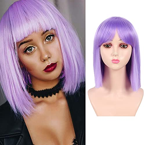 MEIRIYFA parrucche diritte corte viola per donne, parrucca bob corta con frangia parrucca piena sintetica per uso quotidiano cosplay party 30 cm