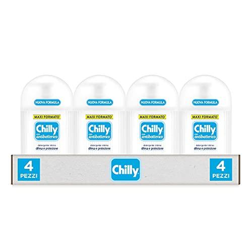 Chilly Detergente Intimo con Antibatterico, Detergente per l'Igiene Intima con Azione di Difesa e Protezione, Fragranza di Timo e Salvia, PH 5, Clinicamente Testato, Confezione da 4 Flaconi da 300 ml