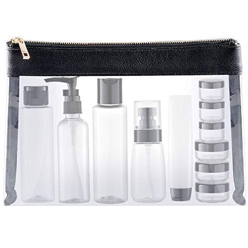 Toureal 15 Pezz Bottigliette da Viaggio Set per Aereo (Max.100ml) Contenitori Liquidi per Cosmetici - Kit de Porta Liquidi Flaconi Accessori (Trasparente)