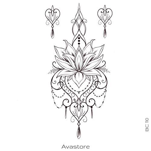 AVASTORE - Tatuaggio temporaneo da donna, fiore di loto all'orientale