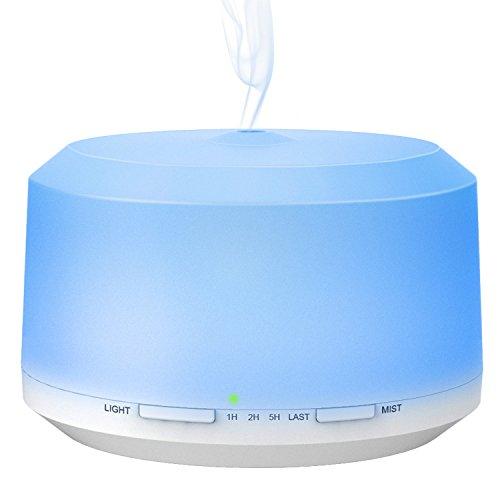 BAXiA Diffusore di Olio Essenziale,450 ml Diffusore di Aromi Ultrasuoni, con 8 luci Colorate e 4 impostazioni Timer, Auto spegnimento Senza Acqua e modalità nebulizzazione Regolabile