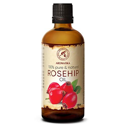 Olio di Rosa Canina - 100ml - Rosa Canina - Olio Vegetale - Olio Vettore per Oli Essenziali - Cura del Viso - Olio per Capelli - Olio per il Corpo - Olio da Bagno - Olio Portante