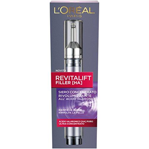 L'Oréal Paris Siero Viso Revitalift Filler, Azione AntiRughe Rivolumizzante con Acido Ialuronico Ultra Concentrato, 16 ml, Confezione da 1