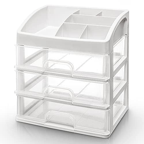 Seelux Organizzatore per Cosmetici, Porta Trucchi con 3 Cassetti per Make Up Cosmetic Organizer per Bagno Desktop Toeletta, Trasparente