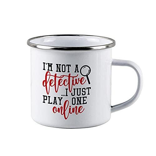 Detective Online, True Crime, Mamma, Donne Smalto Campeggio Tazza Outdoor Tazza Bambini Personalizzata Regalo Ragazzi Ragazzi Ragazze Regalo Ragazze Tazze In Metallo Tazze Bambini Smalto 283,5 g Tazza