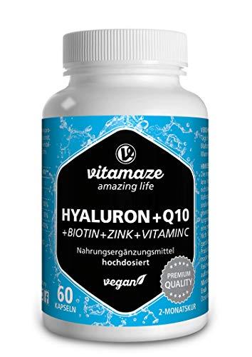 VISPURA® Acido Ialuronico ad Alto Dosaggio Puro + Coenzima Q10, Capsule Vegan per un Trattamento di 2 Mesi, Micromolecule 500-700 kDa, Qualità Tedesca, Integratore Alimentare senza Additivi