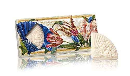 Ventaglio, Saponi vegetale a forma di ventaglio scolpiti con bouquet di fiori, Confezione da 3 saponi scolpite, 3 x 100 grammi