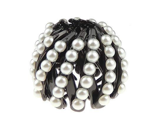 Glamour Girlz - Fermacravatta per chignon da donna, extra scintillante, con strass, espandibile (perle finte nere piccole)