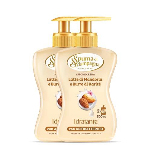 Spuma di Sciampagna Sapone Liquido Mani Idratante Latte Di Mandorla E Burro Di Karitè 2 Confezione - 500 Ml