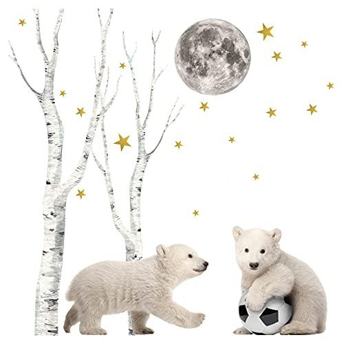 Little Deco Graz Design DL663 - Adesivo da parete per cameretta dei bambini, motivo: animali della foresta polare, con pallone da calcio, per camera dei bambini, per camera dei giochi