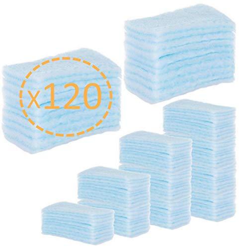 Annote Spugne saponate usa e getta per neonati bambini e adulti - 120 Unità - Spugne per pelli sensibili - Spugne da bagno con sapone a pH neutro - Confezione da 5 confezioni da 24 spugne