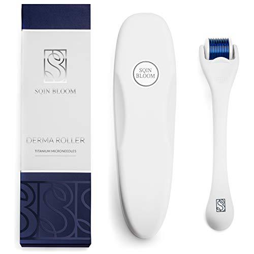 Dermaroller - Roller Viso con Micro Aghi di Titanio da 0,3mm - Derma Roller per Viso, Corpo e Capelli - Custodia e eBook Incluse