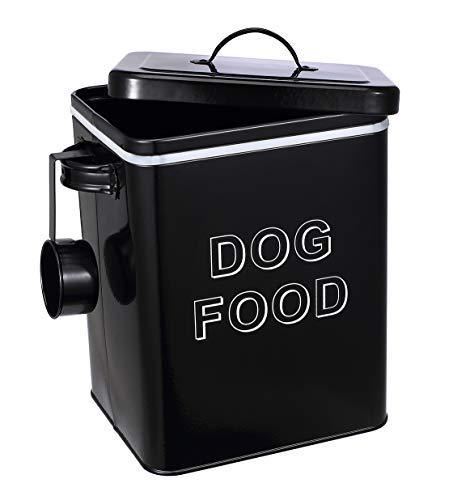 Pethiy - Contenitori per Alimenti per Animali Domestici, in Acciaio al Carbonio Rivestito, Coperchio in Legno a Tenuta stagna, con Paletta, per Cibo per Cani,capacità 2,3 kg-Nero