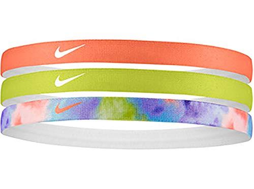 Nike - Fascia elastica stampata per capelli, confezione da 3 pezzi, multicolore
