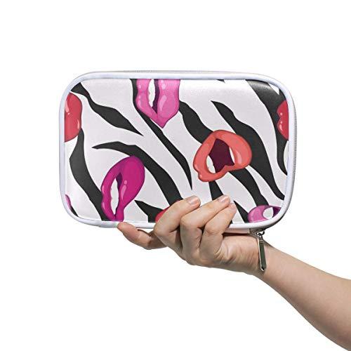Pen Stationary Bag Bird Pouch Purse Zebra Print Lips Lipstick Pencil Case for Student Girl Boy Kids Zipper Cosmetic Makeup Bag