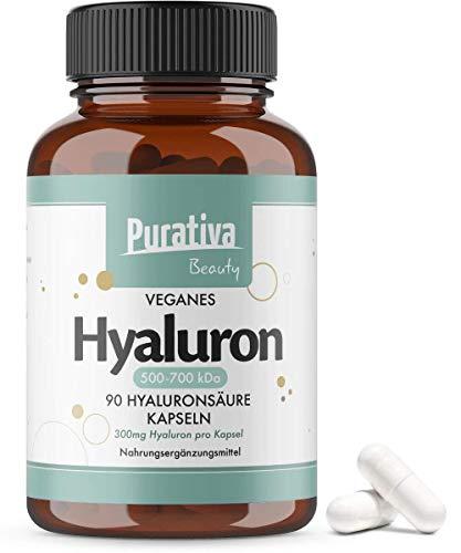 Acido ialuronico - 90 capsule (per 3 mesi) - alto dosaggio - 300mg - 500-700kDa - ialuronano puro - senza stereati di magnesio - confezionato in Germania