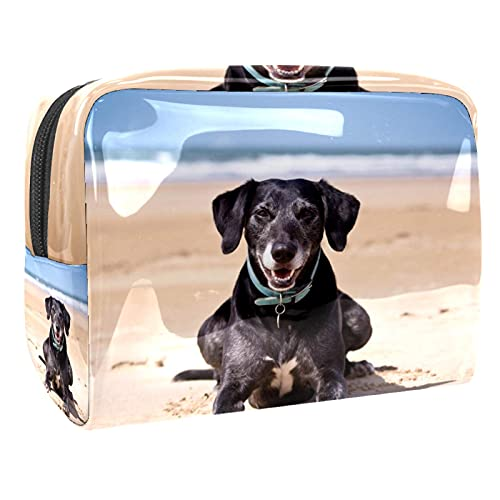 Cosmetic Bag for Women Black Dog Adorable Roomy Makeup Bags Travel Waterproof Toiletry Bag Accessories Organizer 7.3x3x5.1 Inch