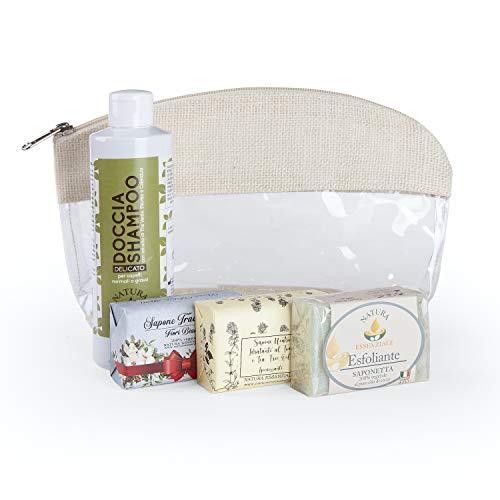 Beauty con tre saponette artigianali Fiori Bianchi Timo e Tea Tre oil e sapone esfoliante con doccia shampoo