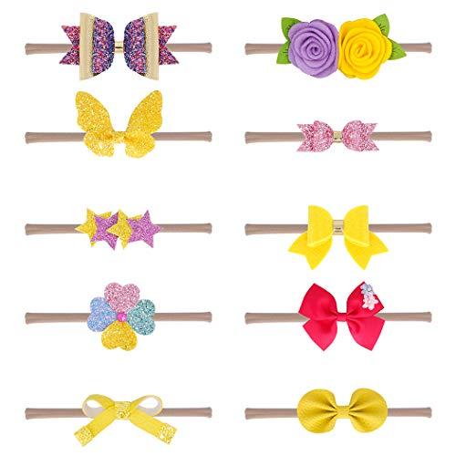 Xiaoyu 10PCS neonate fasce e fiocchi, accessori per capelli neonato bambino neonato, giallo