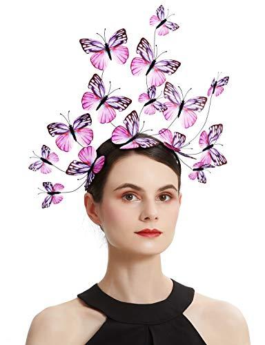 Coucoland - Cerchietto per capelli con farfalla, stile bohémien, per feste, costume di Halloween (rosa)