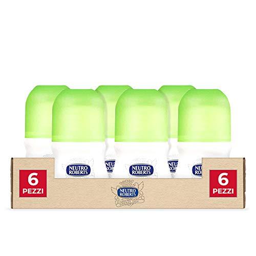 Neutro Roberts, Deodorante Roll On Fresco con Té Verde e Lime, Zero Sali di Alluminio, Zero Macchie - Efficacia per 48 h - 6 Confezioni da 50 ml