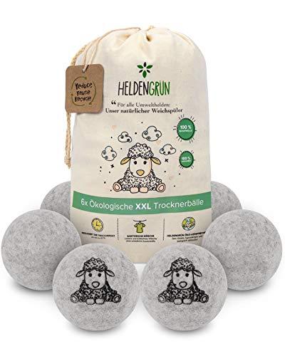 Heldengrün® - Set di 6 palline per asciugatrice XXL, ammorbidente naturale, sostenibile: 100% lana di pecora neozelandese, Zero Waste, per asciugatrice