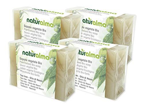 Sapone artigianale vegetale TEA TREE E OLIO DI NEEM Bio 4 X 100g Naturalma lavorazione artigianale a bassa temperatura Vegan