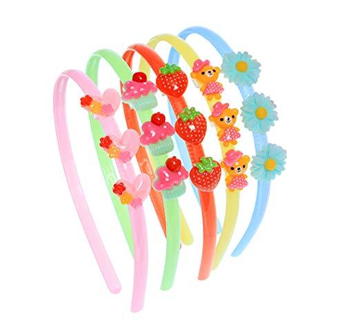 5pcs colore casuale cartone animato ornamento resina elastico fermaglio capelli bambina carino fascia per capelli loop cerchio cerchio supporto per ragazze sopra i 2 anni