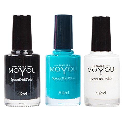 MoYou Nails Bundle of 3 Stamping Nail Polish: Nero, Bianco e verde Tiffany Colori utilizzato dai professionisti del Settore Nail per ottenere decorazioni belle e alla moda provenienti direttamente dal distributore