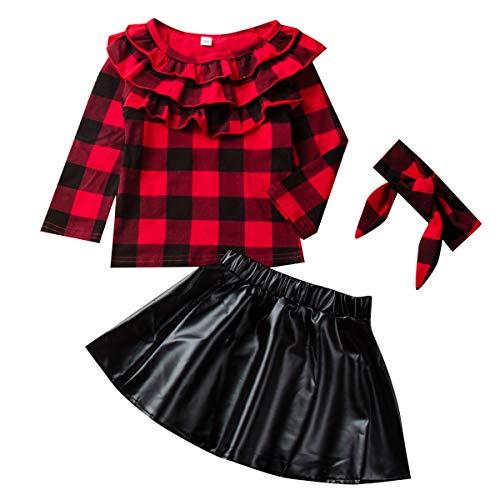 DaMohony Kids Newborn Baby Girls Skirt Outfit Plaid Top Shirt + Gonna in Pelle + Fascia 3 Pezzi Abbigliamento per Bambini Set per 1-6 Anni (Rosso + Nero, 3-4 Anni)