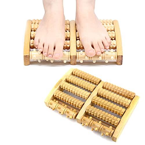 Rullo Massaggio Piedi Legno,Massaggiatore per piedi in legno,Massaggiatore per piedi,Rullo Massaggiatore Doppio per Piede per Rilassare,Rullo massaggiatore plantare per fascite plantare