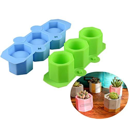 Stampo in silicone per realizzare vasi per piante e fiori, in ceramica, per argilla e cemento, stampi per fai da te per candele, torte, pizza, gelatina, forno a microonde e congelatore. Verde/blu.
