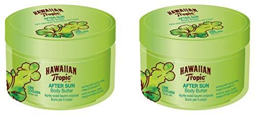 Hawaiian Tropic AfterSun Body Butter Lime Coolada - Crema di corpo doposole con aroma di lima colada, formula ipoallergenica per idratazione intensa, confezione da 2 unità x 200 ml