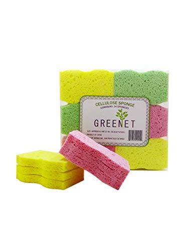 Greenet Cellulosa Spugne di Pulizia Confezione da 24 100% Naturale Cucine Scrub Spugne + 2 Heavy Duty pagliette - Super Durevole, riutilizzabili e biodegradabili (Normal)