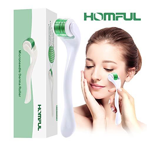 Homful Titanio Micro-ago Derma Roller 0.5mm 540-aghi Trattamento Perdita Capelli, Delle Rughe, Cicatrici Acne e Smagliature