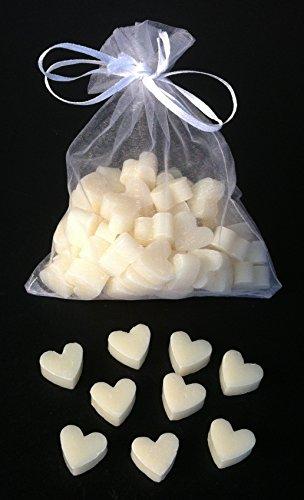 Florex - Mini-saponette al latte di pecora, 50pezzi, a forma di cuoricino, in sacchettino di organza, ideale come regalo per gli ospiti