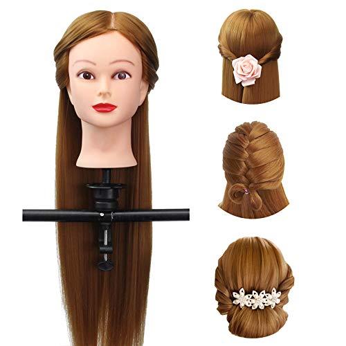 Luckyfine Testa di manichino con supporto capelli veri al 30% per parrucchiere, cosmetologia da salone, capelli, umani e pratica 18'