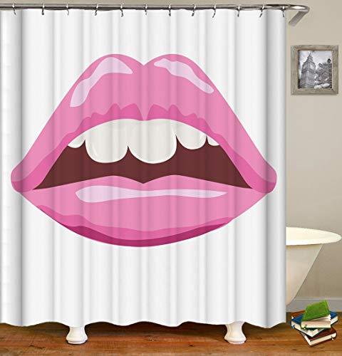 Tenda da doccia Bacio Shower Curtain Vivid labbra carnose rosso sorridere baciare le labbra sexy del rossetto bocca sexy tenda di acquazzone impermeabile prova della muffa Per il bagno di casa, hotel